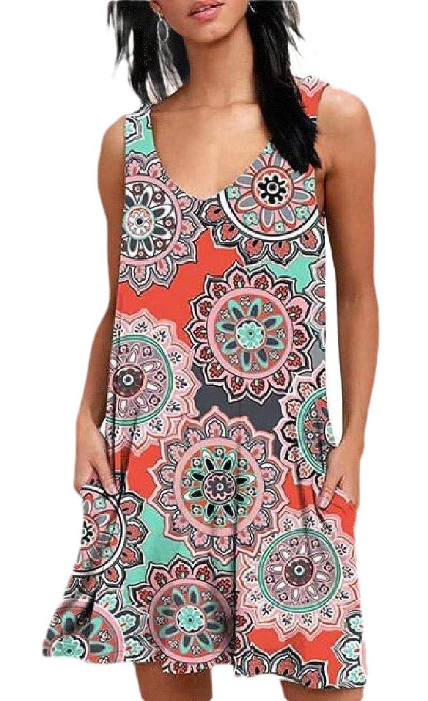 CBTLVSN Women Sundress Sleeveless Floral Printed Beach Swing Short Dress