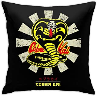 yukaiwei1 Cushion Cover Karate Kid Cobra Kai Retro Japanese Pillowcase Throw Pillow Covers Couch Cushions Bedroom Decorative Home 45X45Cm Zipper Durable Cozy Couch Party Living Quarters Pers