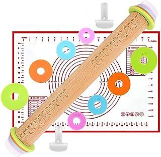 Rouleau à pâtisserie réglable en bois, rouleau à pâtisserie anti-adhésif avec 8 disques réglables, tapis pour cuisson au f...