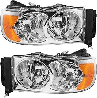 Halogen Headlights Headlamps Driver and Passenger Replacements for 02-05 Ram Pickup Truck 55077121AF 55077120AG