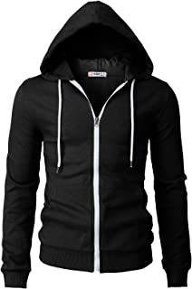 H2H Mens Casual Zip-up Hoodie Double Cotton Lightweight Hooded Basic Designed