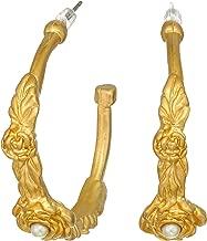Kenneth Jay Lane Women's Satin Gold Half Hoop with Flowers/White Pearl Center Pierced Earrings