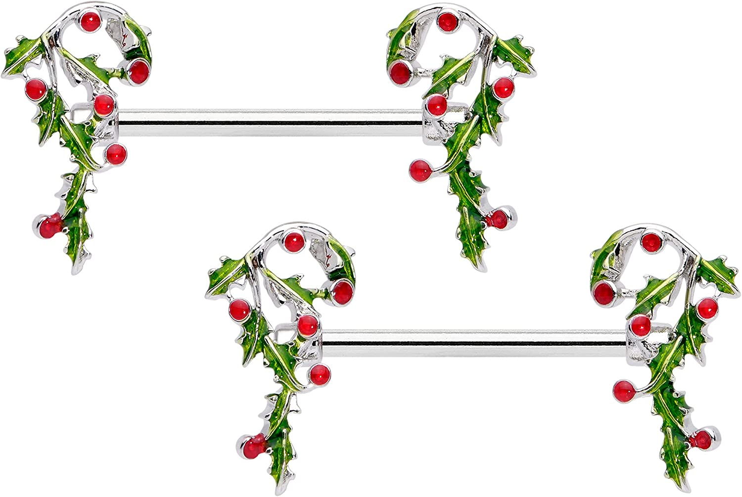 Body Candy 14G Womens Nipplerings Piercing Steel 2PC Holly Candy Cane Festive Nipple Ring Set 5/8