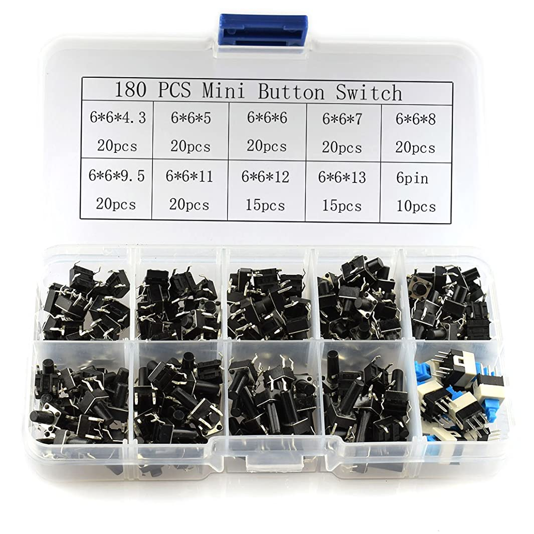 HJ Garden 180pcs 6x6 Micro Push Button Switch Kit DIP 4P 10 Kinds Light Touch Momentary Tact Button Self-Locking Switch Assortment Kit
