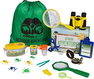 Moody Goat 19 - Pcs Outdoor Explorer Gear Play Set for Kids – Junior Adventurer Equipment Kit for Children – Exploration Toys with Binoculars, Bug Catcher, Magnifying Glass & Backpack