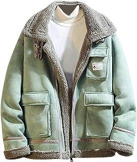 Iuhan Men Coat Winter Solid Color Fleece Casual Cardigan Blouse Tops Comfortable Coat Long Sleeve Regular and Big Sizes