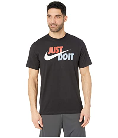 Nike NSW Just Do It Swoosh Tee (Black/Mystic Red/Platinum Tint) Men