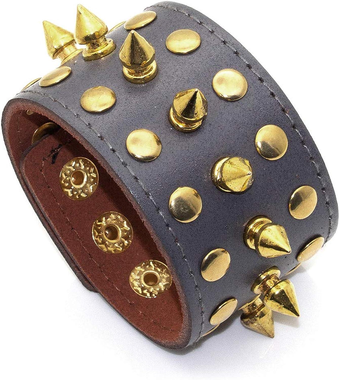 Nsitbbuery Hip Hop Alloy Buckle Wristband Spike Rivet Leather Bracelet