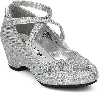 Girls Glitter and Rhinestone Embellished Cross Strap Kiddie Heel HH14 - Silver (Size: Little Kid 12)