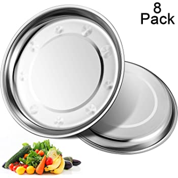 8 Pack Stainless Steel Round Plates 410 Stainless Steel Plates Dish Portable Dinnerware Set for Outdoor Camping, Hiking, Picnic, BBQ, Beach (9 inch)