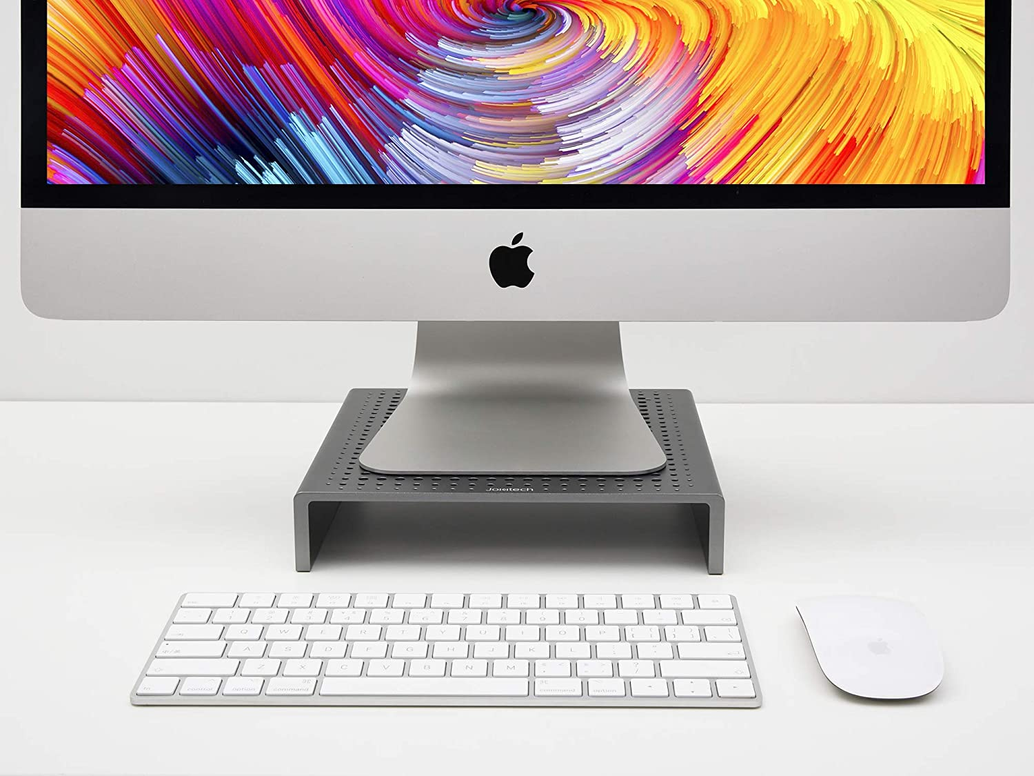 JOKItech Computer Monitor Screen Stand Riser Compatible with New Apple iMac Pro Samsung LG Ultrafine HP Dell Asus and Dell Alienware -Spacegrey