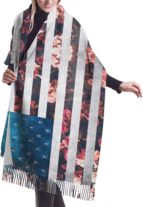 American Flag Skull Flower Cashmere Feel Scarf Lightweight Soft Scarfs For Boys Girls Creative Warm Cold Weather Blanket Scarf