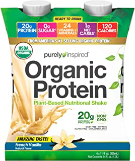 Purely Inspired Organic Protein Shake, Ready to Drink, 20g Plant Based Protein, No Sugar, Low Carbs, Naturally Flavored, Decadent Vanilla, 11 Fl Oz (Pack of 4)