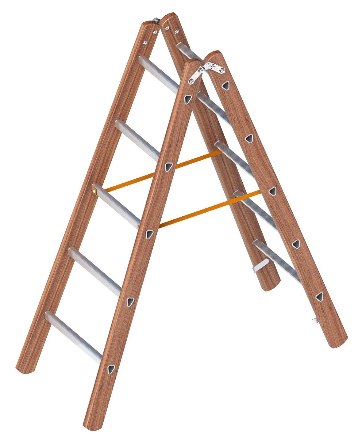 Layher 1028005 ligero de pie escalera, madera de aluminio escalera de tijera (2 x 5 peldaños, ambos lados, plegable, longitud 1.55 m: Amazon.es: Bricolaje y herramientas