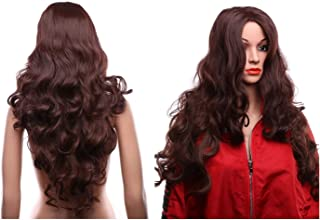 Women Synthetic Wigs Long Curl Full Ombre Brown Wigs with Wig Cap for Cosplay Party Daily Use