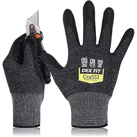 DEX FIT Level 5 Cut Resistant Gloves Cru553, 3D Comfort Stretch Fit, Power Grip, Durable Foam Nitrile, Pass FDA Food Contact, Smart Touch, Thin & Lightweight, Black Grey 9 (L) 1 Pair