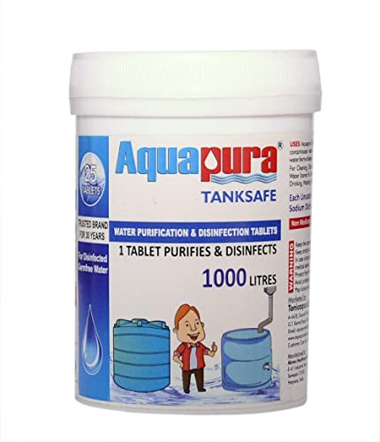 Aquapura Water Purification Tablets, Each Tablet for 1000 litres, 25 Tablets Pack, 3 Years Shelf Life & Warranty, for...