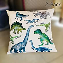 2 Pack Dinosaur Print Flannel Cotton Square Style Throw Pillow Cover Cushion Cover Size 18X18 Set 2 Color White