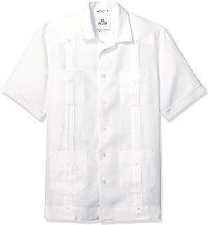 Amazon Brand - 28 Palms Men's Relaxed-Fit Short-Sleeve 100% Linen 4-Pocket Pleated Guayabera Shirt