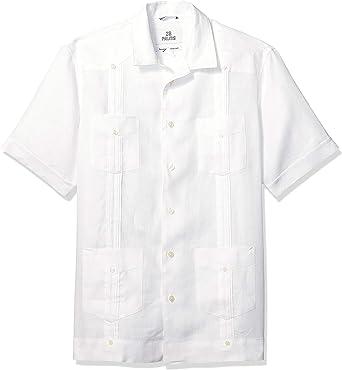 Marca Amazon - 28 Palms – Camisa guayabera de 4 bolsillos, plisada, de manga corta, corte holgado, lino 100 % para hombre