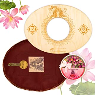 Sama Handcraft Yoni Seat and Herbs (4oz) in a Luxury package-Devi steam wooden SEAT with engraved pictures of Goddess Yoga...