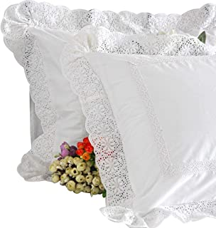 Queen's House Shabby Lace White Shams Standard Set of 2-P