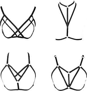 4 Pcs Womens Strappy Cage Bra Sexy Bra Harness for Women
