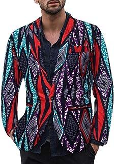 ZODOF Chaqueta de Traje para Hombre - Traje para Hombre Moderno Vestido Estampado étnico Vintage para Hombre con Traje Floral y Chaqueta Ajustada Tipo Blazer(Púrpura,XXL)
