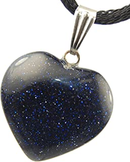 Steampunkers USA Big Heart Collection - 20mm Classic Galaxy Goldstone Black Blue Sparkle - 20-22 inch Black Cord – Crystal Gemstone Carved Necklace Charm Handmade