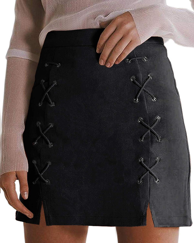 MANGOPOP Women's Classic High Waist Lace Up Bodycon Faux Suede A Line Mini Pencil Skirt