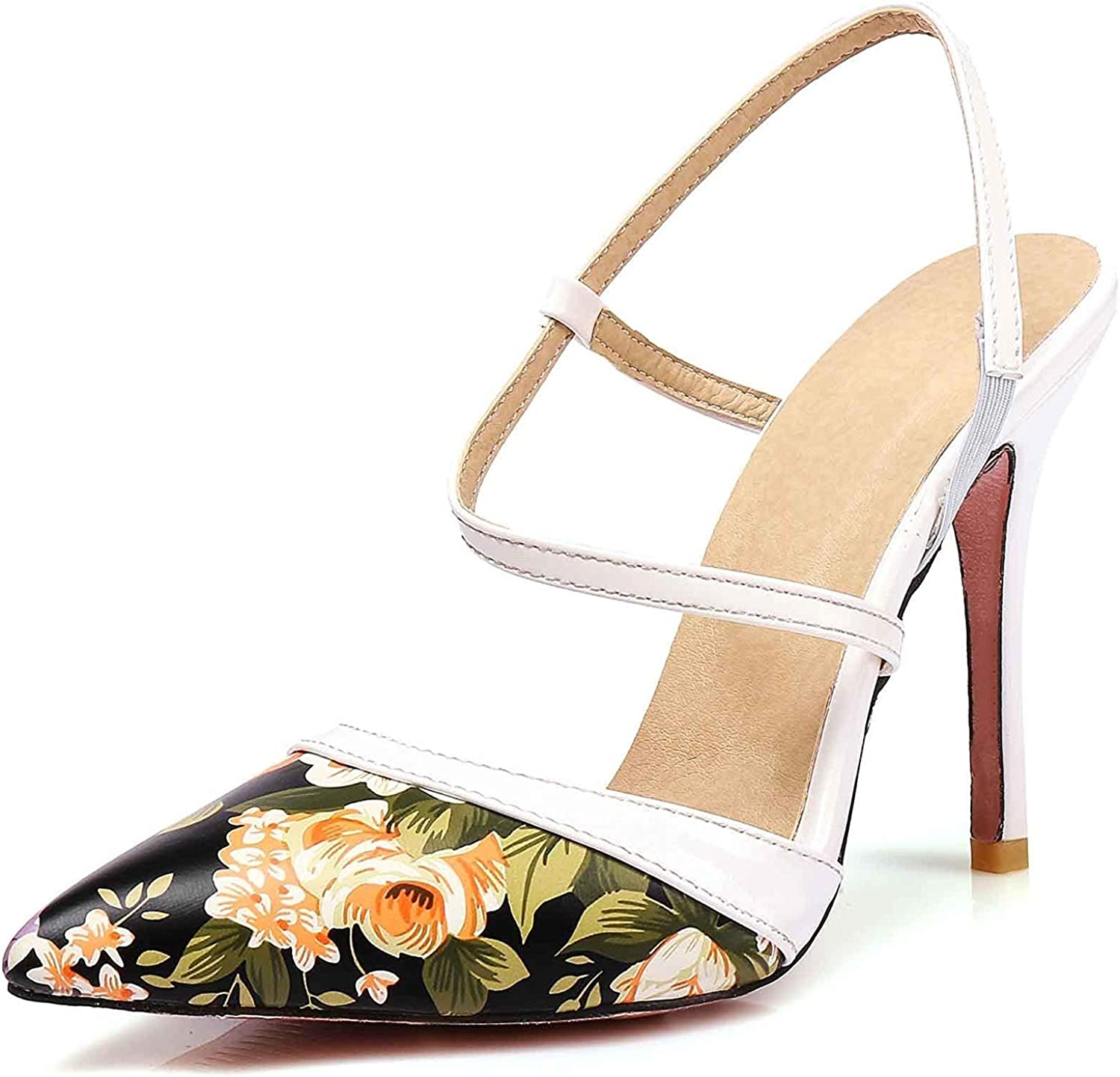 Unm Women's Pointed Toe Sandals with Ankle Strap - Stiletto High Heels - Flower D'-Orsay