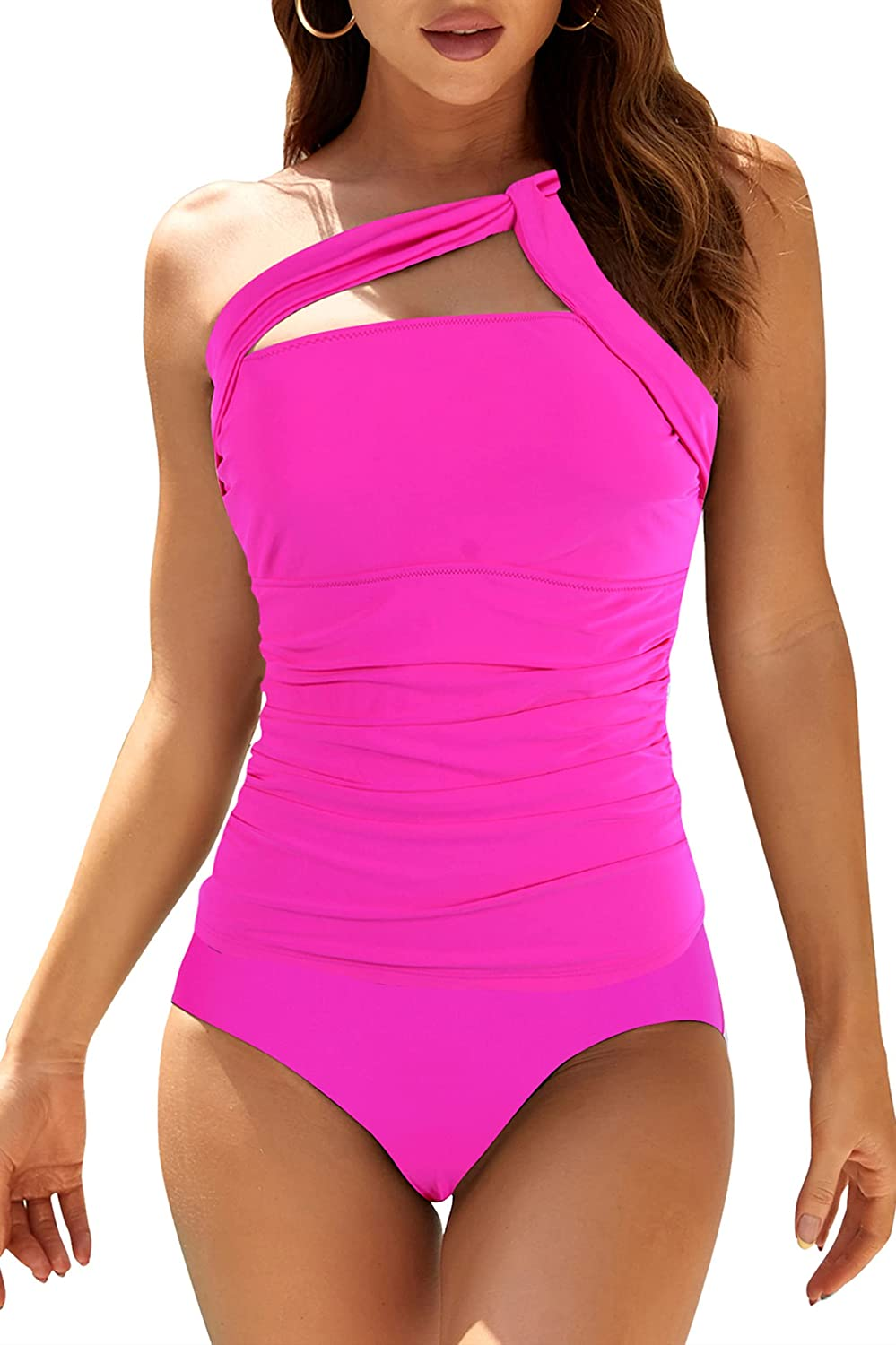 Adisputent Womens Tankini Swimsuits One Shoulder Tank Top Ruched Tummy Control Swim Bottoms Two Piece Bathing Suits