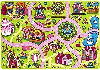 Mybecca Kids Rug Colourful Fun Land 3' x 5' Roads Childrens Floor Play Children Area Rug Mat Playroom & Nursery (39
