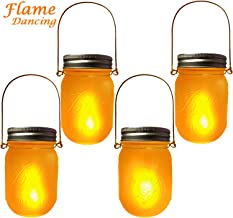 Solar Mason Jar Flames Lights Upgraded, 4 Pack Flickering Flames Torches Lights Outdoor Hanging Lanterns Landscape Decoration Lighting Dusk to Dawn Auto On/Off Security Halloween Torch Lights