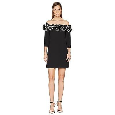 Halston Heritage Ruffle Detail Off Shoulder Flowy Dress (Black/Ceam) Women