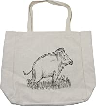 Ambesonne Razorback Shopping Bag, Animal Print Themed Outline Monochrome Sketch of Wild Boar Pig Image, Eco-Friendly Reusable Bag for Groceries Beach and More, 15.5