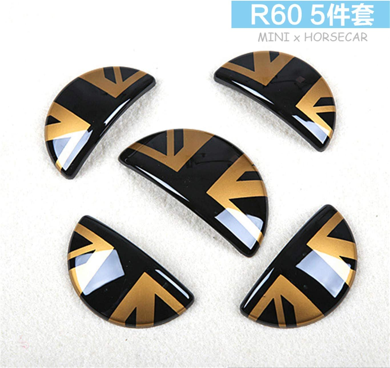 Door Handle with Key Hole 4 Pieces Black//Gold Union Jack UK Flag ABS Sticker Cover Trim Cap for Mini Cooper ONE S JCW R Series R60 Countryman R61 Paceman 2010-2016