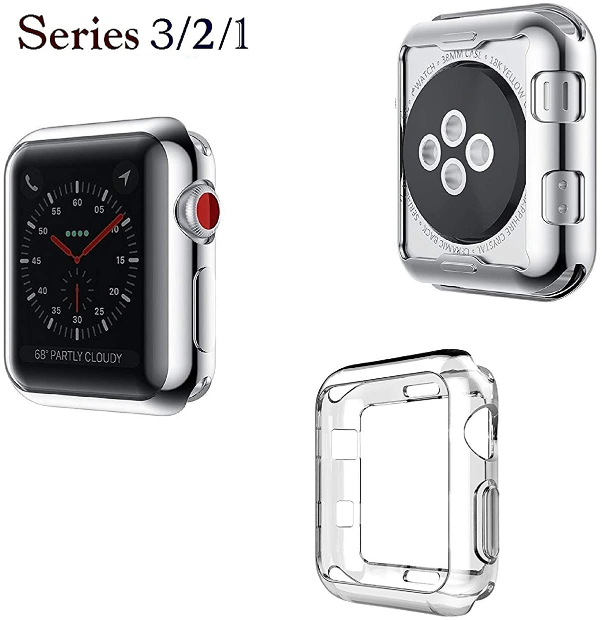 Josi Minea Apple Watch [42mm] Protective Snap-On Shell Bumper Case - Premium Anti-Scratch & Shockproof Ultra Thin TPU Silicone HD Cover Shield Guard for Apple Watch Series 3, 2 & 1-42mm [ Clear ]
