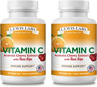 Vitamin C with Rose Hips & Acerola Cherry 500mg   Pure Vitamin C Ascorbic Acid Supplement for Immune System & Cardiovascul...