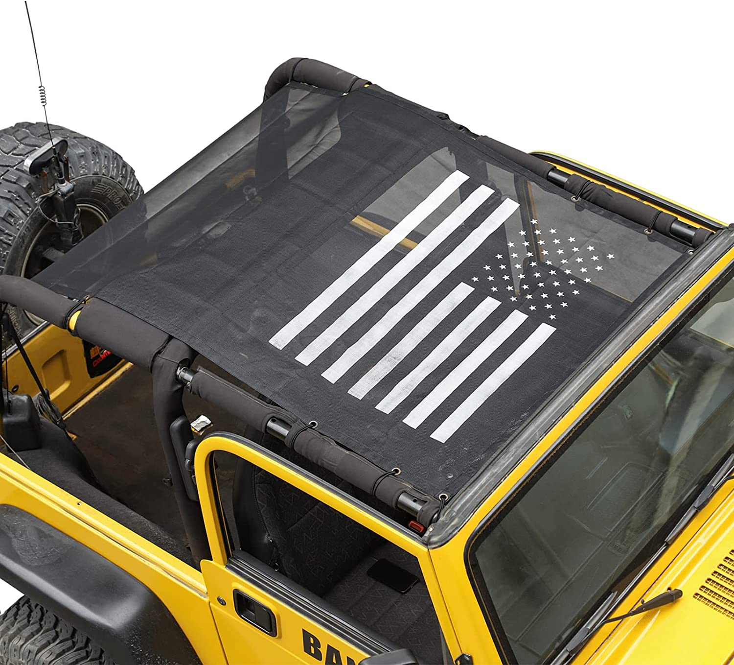 Dallas Mall Quality inspection RT-TCZ Jeep Wrangler TJ US Flag Mesh Shade Durable Top Polyester