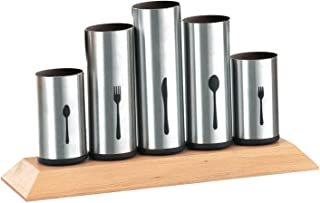 Bruntmor, 18/8 Stainless Steel Flatware Organizer Holder Caddy With Wood Base