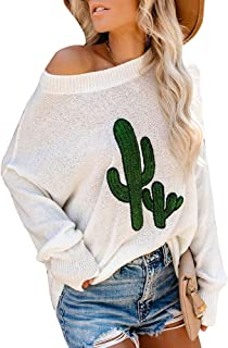 Nulibenna Women's Oversized Batwing Sleeve Sweater Off Shoulder Cactus Pullover Knit Jumper