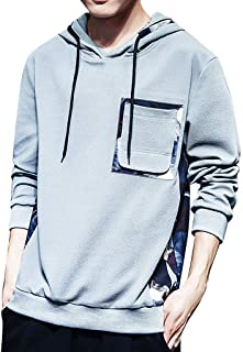 Elogoog Fashion Round Neck Hoodie for Men Sweatshirt Hoodies Pattern Hooded Blouse with Pocket