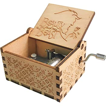 Caja de música temática de madera manivela belleza y la bestia, mecanismo de 18 notas Caja musical tallada antigüedad mejor regalo para niños, amigos: Amazon.es: Hogar