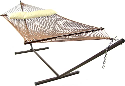 wholesale Sunnydaze Polyester Rope Hammock with Stand - Large Double Wide Two outlet online sale Person Hammock with 15 Foot Steel Stand - 400-Pound Capacity outlet sale - Brown outlet sale