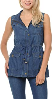 Auliné Collection Womens Chambray Denim Jean Military Anorak Drawstring Vest