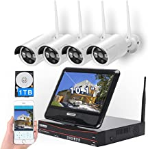 All in one with Monitor Wireless Security Camera System Home WiFi CCTV 4CH 1080P NVR Kit 4pcs 960P Indoor Outdoor Bullet I...
