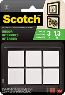 Scotch Multi-Purpose Fasteners, White, 7/8 x 7/8 Inch, 12 Sets per Pack (RF7020)