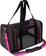Aivituvin Large Soft-Sided Pet Carrier for Dog and Cats, Pet Travel Carrier, Collapsible for Puppy Up to 20lbs, Extra Spacious Portable Dog Crate Kennel for Kittens, Rosy