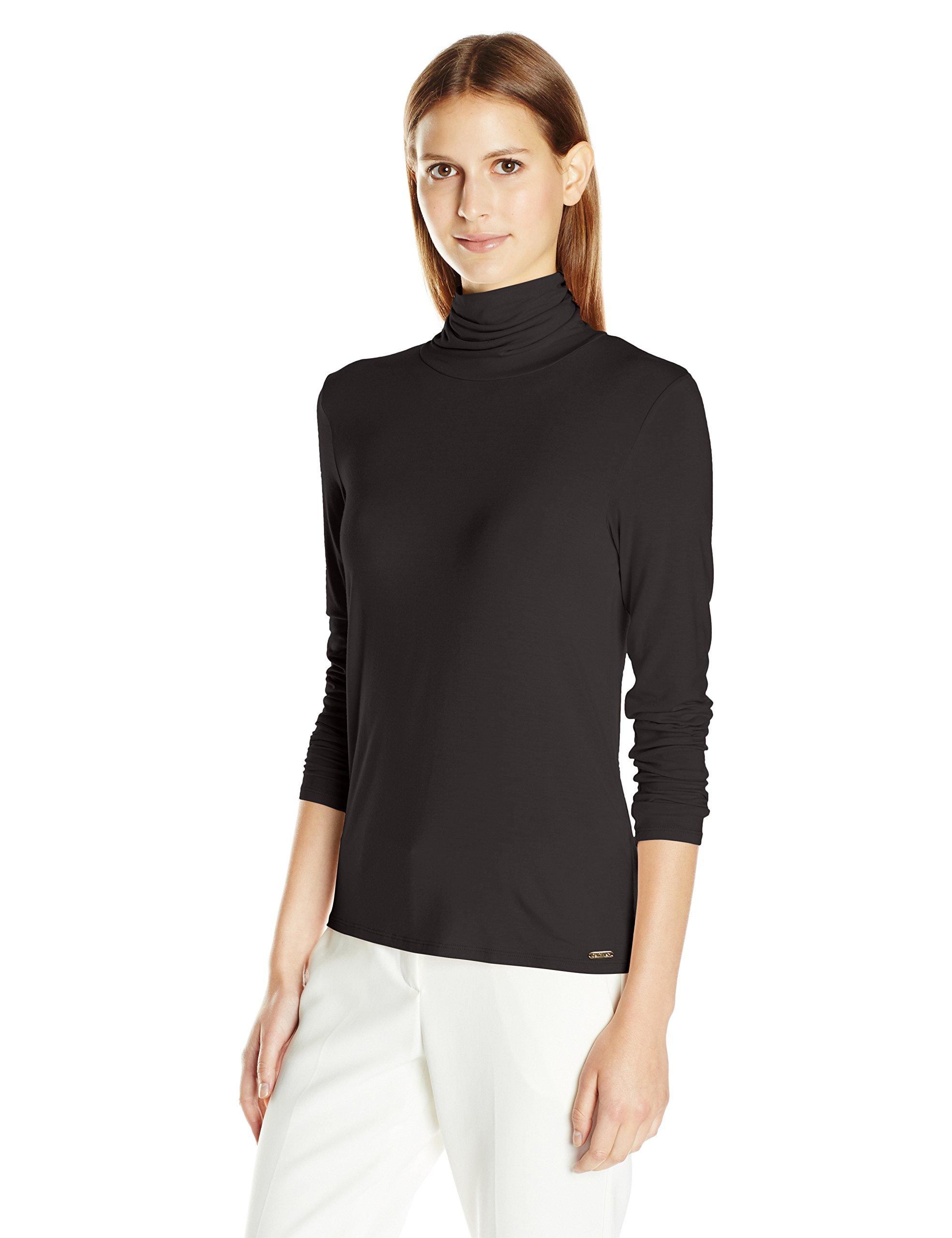 Calvin Klein 女士液体针织高翻领上衣